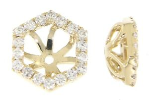 Solid 14K Yellow Gold 0.22 CT Real Natural Diamond Round Stud Jackets Earrings