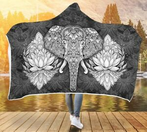 Elephant Mandala Hooded Blanket, Hooded Elephant Lotus Throw, Elephant Hood