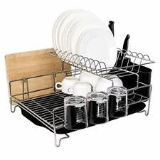 New listing Sturdy 2 Tier Large Capacity Stainless Steel Dish Drying Rack, Multi