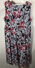 Acevog Floral Dress Black Red White Size  XXXL NWT Zipper Broken