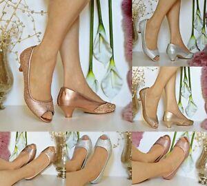 Womens Ladies Diamante Party Evening Prom Bridal Low Kitten Heels Court Shoe 671