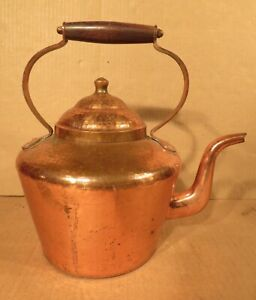Large Antique  Dovetailed Copper Kettle With Wood Handle / Made in Italy