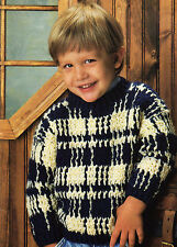 HANDSOME Boy's Warm Plaid Sweater/Crochet Pattern INSTRUCTIONS ONLY
