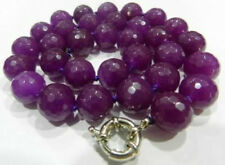 Natural! 10mm Faceted Purple Alexandrite Round Gems necklace 18''