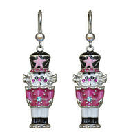 Kirks Folly Pretty In Pink Nutcracker Leverback Earrings (Silvertone)