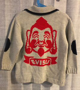 Boys EVISU Gray & Red Logo Zip Front Wool Cardigan Sweater ~ 7/8