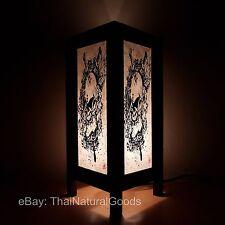 Asian Oriental Bamboo Skull Art Bedside Table Lamp Wood Shades Desk Night Light