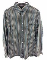DANIEL CREMIEUX Signature Dress Shirt Size L Mens Green Stripe Long Sleeve