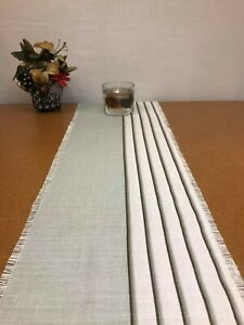 54 x 11 inch Linen TABLE RUNNER Duck EGG blue / Ivory