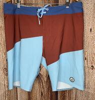 Volcom Lido Slash Swim Board Shorts 4-Way Stretch Blue Maroon Patch Men's 36