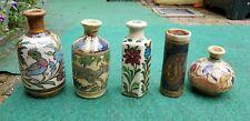 Set of 4 Antique Persian Qajar Iznik Bottles Flasks Earthenware Pottery Glazed