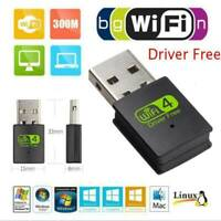 Mini Dual Band 300-Mbps USB WiFi Wireless Adapter For Notebook Laptop PC Desktop