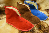 hand-made womens mens natural leather suede slippers boots all size 3-12