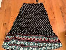 NWT ZEAGOO Rayon Maxi Skirt Size XXL Black Paisley Elephant