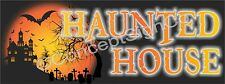 3'X8' HAUNTED HOUSE BANNER Outdoor Sign LARGE Halloween Spooky Scary Costumes
