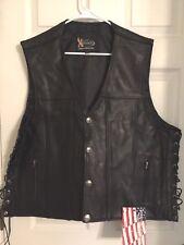 Xelement Mens Thick Black Leather Gun Pocket Vest w/ One Panel Back 4 XL