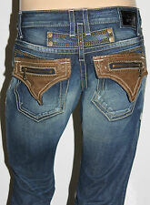 New Men's ROBIN'S JEAN sz 44 #D5642BRN HARLEY Leather Flap Studded -Straight Leg