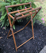 Vintage Bamboo Wood Stand Divided Plant Stand Crock Stand Umbrella Leather