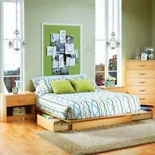 3 Piece Natural Maple Storage Bed Furniture Collection Set Home Living  Bedroom
