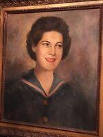 Unusual mid-century oil painting portrait woman by Celaya Winkler  Calif b. 1902