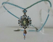 MICHAL NEGRIN STUNNING CAMEO NECKLACE PENDANT SWAROVSKI CRYSTALS BEADED CHAIN