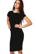 Casual Cap Sleeves Button Belt Decoration Black Midi Party Dress Small