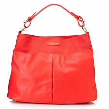 Jack French London BROMLEY Reptile Embossed & Smooth Leather Hobo Handbag CORAL
