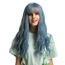 Elegant Blue Women's Curly Wig Synthetic Halloween Cosplay Middle Part Wigs