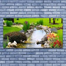 Impression sur verre Image Tableau 140x70 Nature Jardin Lac