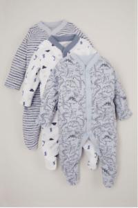Baby Boys Sleepsuits Dinosaur Babygrows Blue Multipack Ex Nutmeg All In One Gift