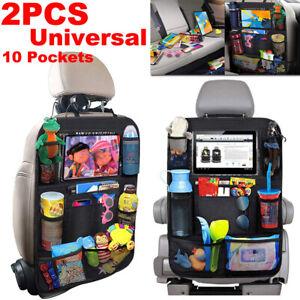 2pcs Black Oxford Fabric Car Seat Back Storage Bag Auto Organizer Drink Holder