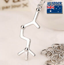 Molecular Love Cz Crystal Necklace Polished Silver Plated Chemical Structure