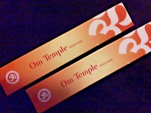 Om Temple Slow Burning Premium Incense 2 x15g Box Natural Fair Trade Sustainable
