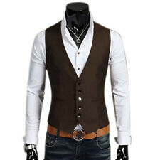 Mens Waistcoat Formal Business Suit Vest Slim Fit Casual Tuxedo Coat Jacket Tops