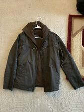 Mens Guess Dark Brown Striped Bomber Faux Leather Jacket Size SM Removable Hood