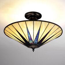 Interiors 1900 64043 Dark Star 3 Light Semi Flush Tiffany Ceiling Light