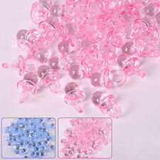 50Pcs Mini Clear Pink Baby Shower Baptism Pacifier Charms Party Cake DIY Favours