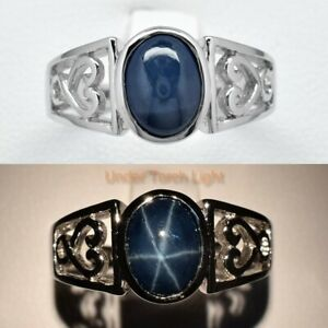 8x6mm Natural 6 Ray Dark Blue Star-Sapphire Ring in 925 Sterling Silver