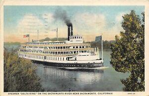 Sacramento California 1937 Postcard Steamer Delta King On Sacramento River