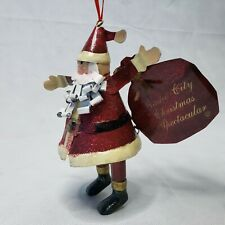 Radio City Christmas Spectacular Ornament -  Red Santa Glitter Tin