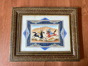Persian Hand Painted Marquetry Khatam Frame Polo Horse Hunting Polo Inlaid Wood