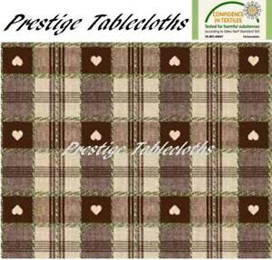 Brown Heart Check PVC Vinyl Wipe Clean Tablecloth - ALL SIZES - Code: C57-4