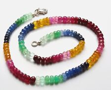 Ebya 60 ct Natural Multi Ruby Sapphire Gemstone Beads Necklace 925 Silver Clasp