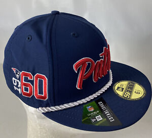 New England Patriots Hat Cap 59FIFTY Onfield NFL 100 Spellout Sewn Logo 6 7/8