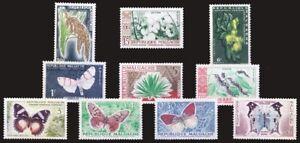 Madagascar 1960 MNH 10v No Gum, Butterflies, flora -