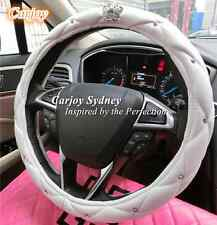 Universal Steering Wheel Cover Leather Shinny Crystal Crown White Girl Xmas Gift