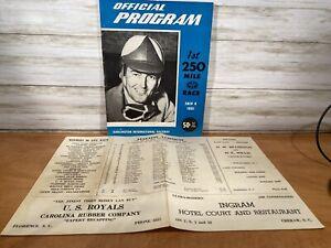 VINTAGE DARLINGTON RACEWAY PROGRAM  250 MILE RACE JULY 4,1951 With Insert Lineup