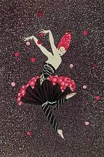 "Original Vintage Erte Art Deco Print ""Rose Dancer"" Fashion Book Plate"
