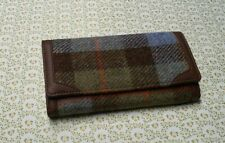 Ladies Authentic Harris Tweed Long Wallet in traditional Blue/green  tartan
