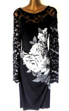 Phase Eight 14 dress in black floral Long sleeves  Ruched pencil (1632